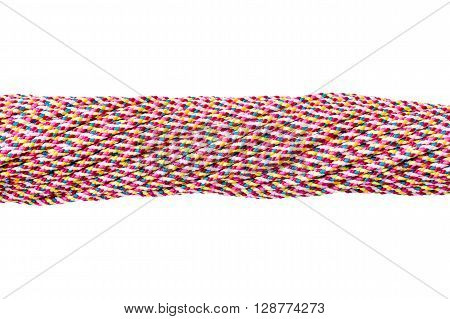Connected concept Different ropes tied isolate on white with clipping path