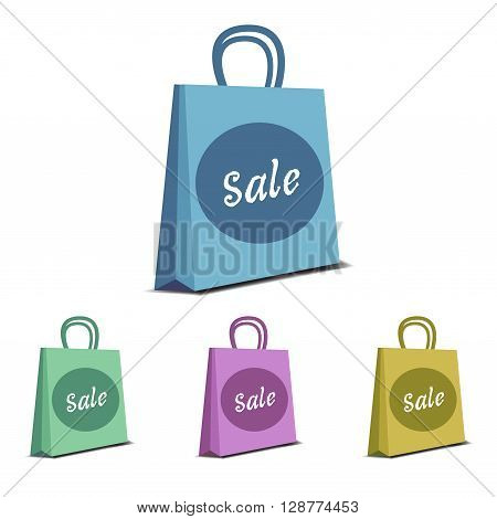Four shopping bags isolated on a white background