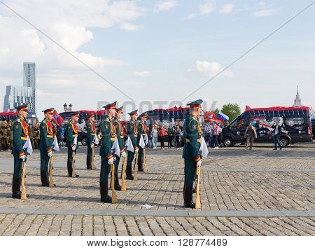 Moscow - May 6 2016: Victory Park on Poklonnaya Hill and 154 soldiers detached commandant of the Preobrazhensky Regiment stand in formation May 6 2016 Moscow Russia