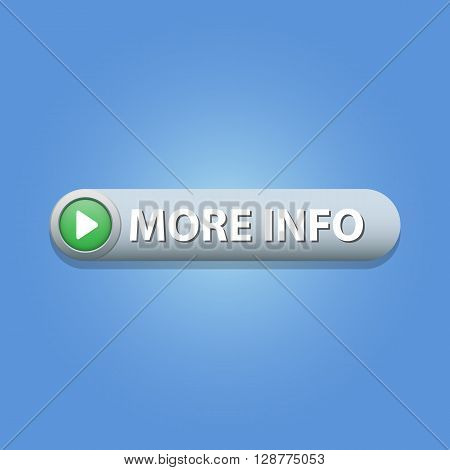More info Button on blue background. Vector illustration.