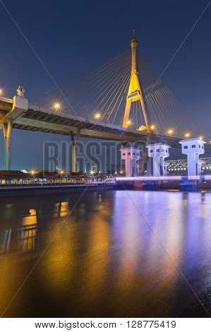 Suspension bridge and watergate during twilight, Bangkok Landmark, Thailand