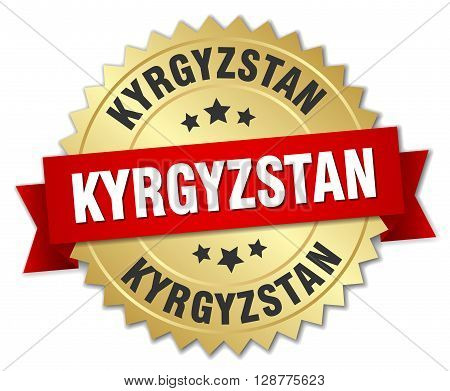 Kyrgyzstan round golden badge with red ribbon