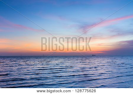 Seacoast skyline and beautiful sky, natural landscape background