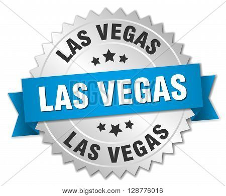 Las Vegas round silver badge with blue ribbon