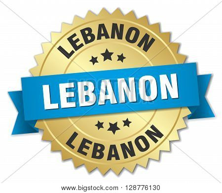 Lebanon round golden badge with blue ribbon