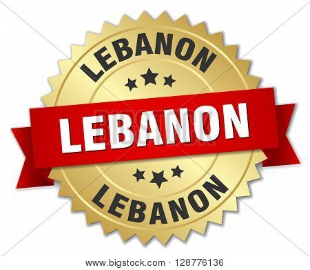 Lebanon round golden badge with red ribbon