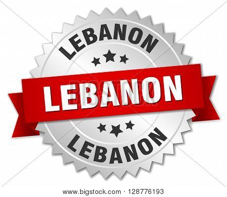 Lebanon round silver badge with red ribbon