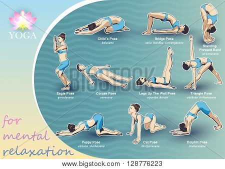 A set of yoga postures female figures: a sequence of exercise in the form of creative visual poster for mental relaxation.
