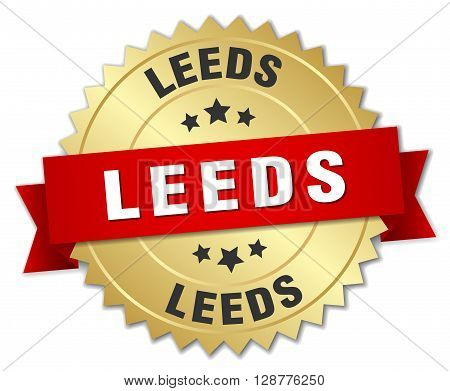 Leeds round golden badge with red ribbon