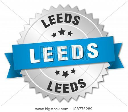 Leeds round silver badge with blue ribbon