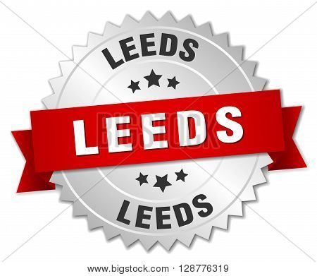 Leeds round silver badge with red ribbon