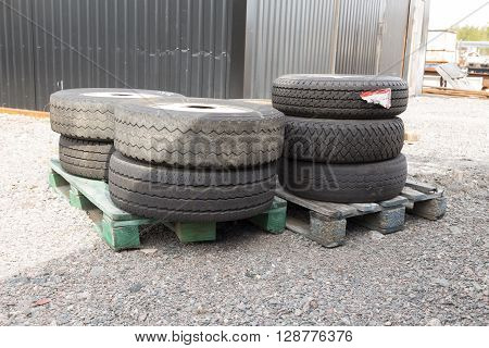 Stacked Tires On Pallets