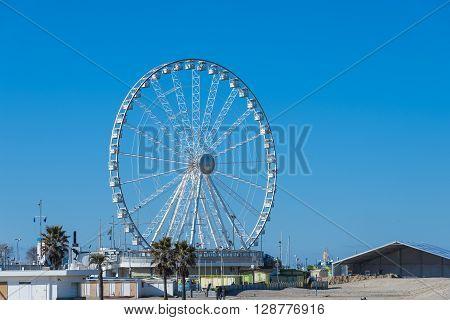a view of ferris wheel in Rimini Italy