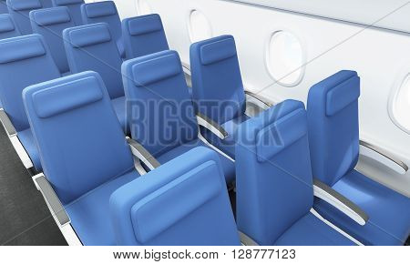Airplane interior with blue seats and portholes. 3D Rendering