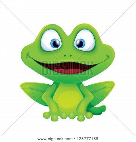 Vector illustration of cute funny frog smiling and sitting on the background