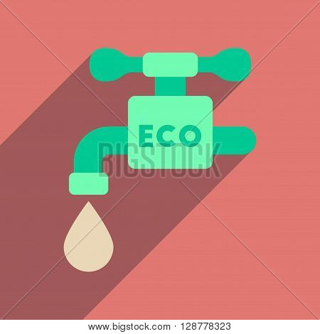 Flat web icon with long  shadow water faucet