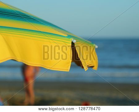 Beach Umbrella With The Sea In The Background