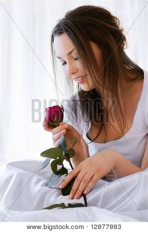 Beautiful Girl With Rose