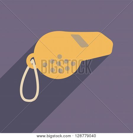 Flat web icon with long  shadow whistle