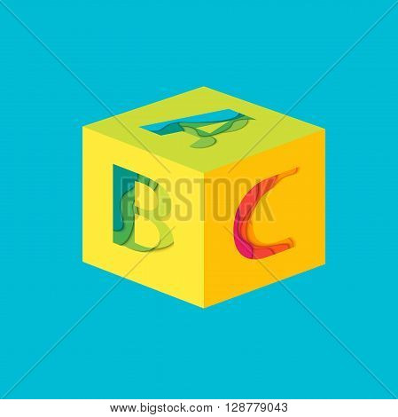 Cube with Letters A, B, C. Material design  template element. Characters ABC vector logo, icon and sign. Education and School background.
