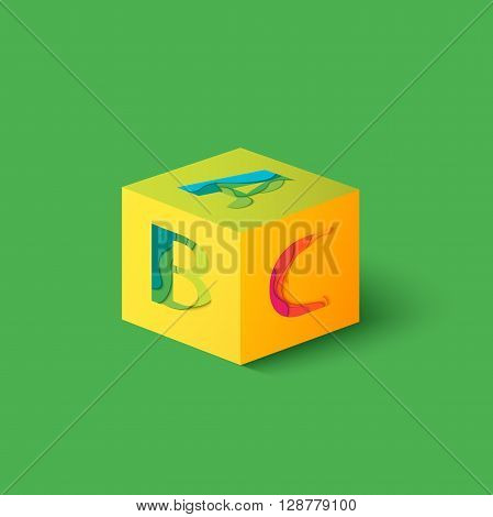 Cube with Letters A, B, C and shadow. Material design  template element. Characters ABC vector logo, icon and sign. Education and School background.