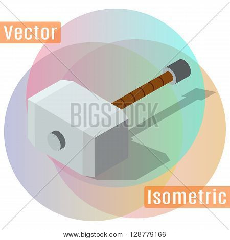Hammer of Thor is isometric view with shadows. Vector flat illustration.