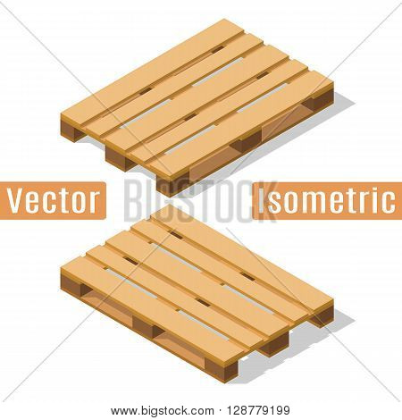 Wooden pallet in isometric view with shadows. Vector flat illustration.