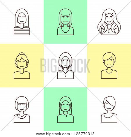 Flat line icons set of woman avatars for profile page, social network, social media. Trendy hairstyles. Vector flat illustration.