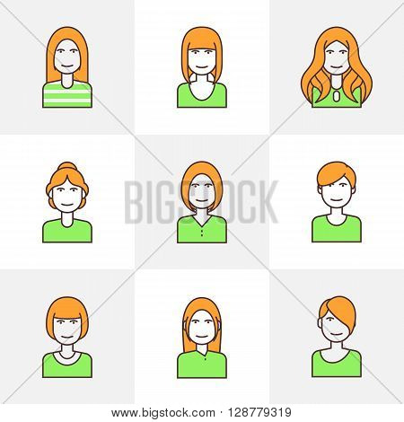 Flat line colorful icons set of woman avatars for profile page, social network, social media. Trendy hairstyles. Vector flat illustration.