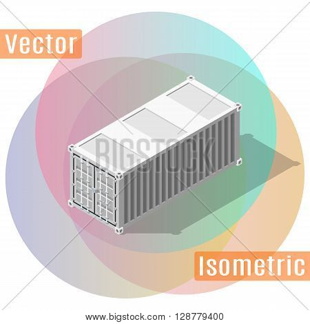 20 feet shipping container in isometric view with shadows. Vector flat illustration.