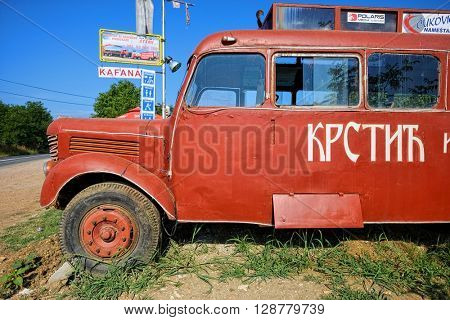 Knic, Serbia - JULY 23, 2015: a red bus similar to that used in the movie