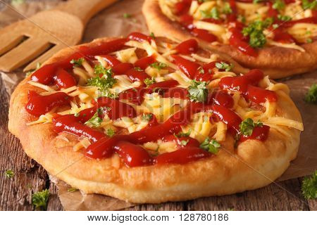 Hungarian Deep Fried Fast Food Langos With Cheese And Ketchup Close-up. Horizontal