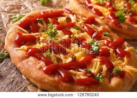 Hot Langos Fried With Cheese And Ketchup Macro. Horizontal