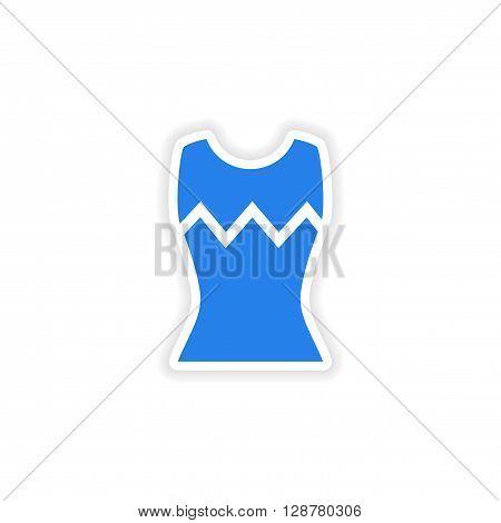stylish paper sticker on white background women's T-shirt