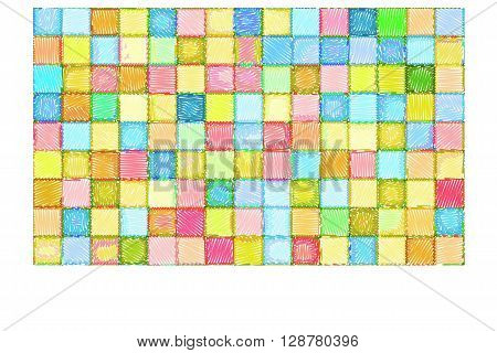 mixed tile wall drawn with color pencil