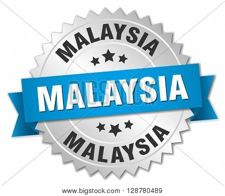 Malaysia round silver badge with blue ribbon