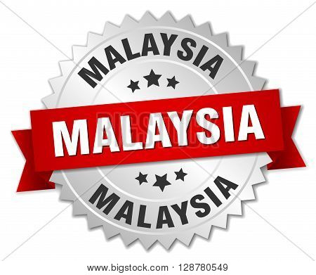 Malaysia round silver badge with red ribbon