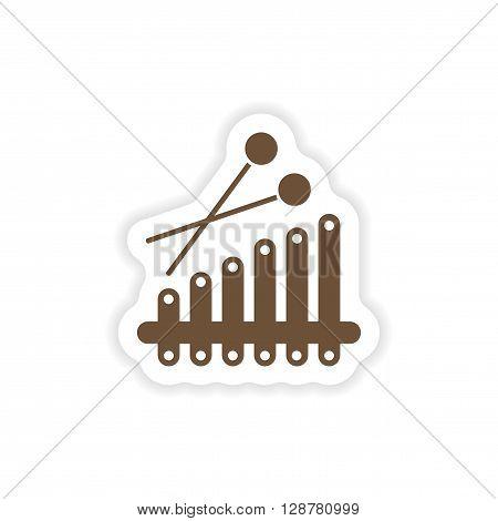 stylish paper sticker on white background Xylophone