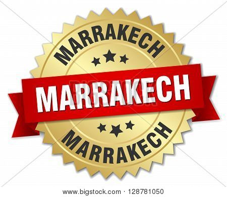 Marrakech round golden badge with red ribbon
