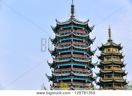 Sun And Moon Pagodas In Downtown Of Guilin, Guangxi Province, China.
