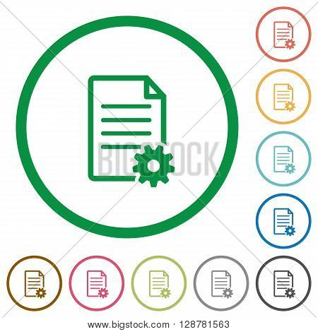 Set of Document setup color round outlined flat icons on white background
