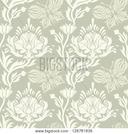 Seamless vintage abstract background Vector background for textile design. Wallpaper packaging fabric textiles paper. Damascus pattern.