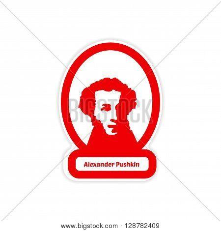 paper sticker on white background Alexander Pushkin