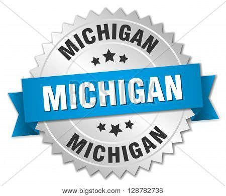 Michigan round silver badge with blue ribbon