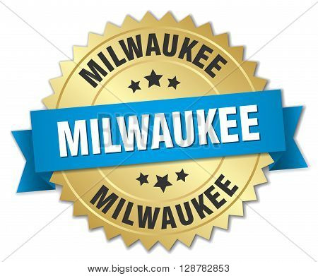 Milwaukee round golden badge with blue ribbon