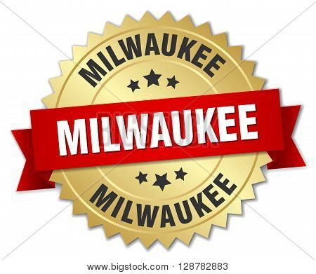 Milwaukee round golden badge with red ribbon