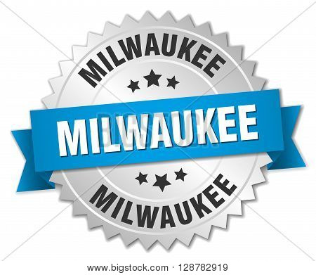 Milwaukee round silver badge with blue ribbon