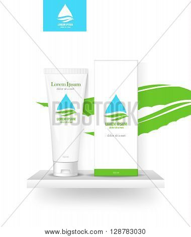 Packaging cosmetics, mock-up. Plastic Container, Package cream, Beauty products. Vector aloe.