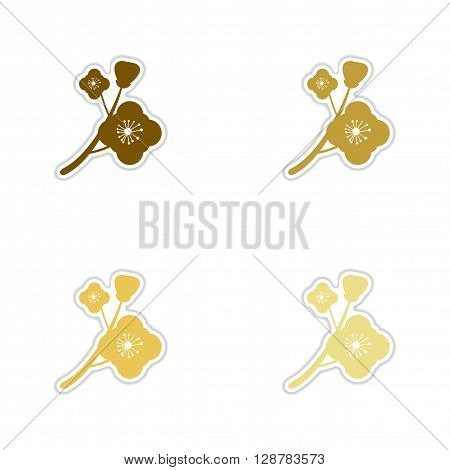 Concept of paper stickers on white  background branch in bloom
