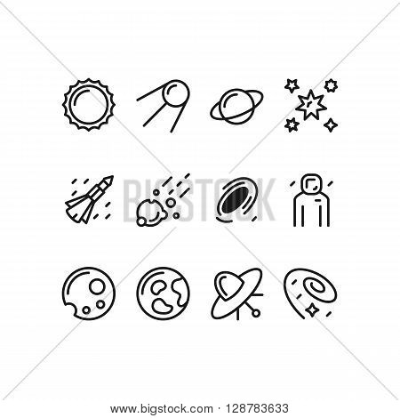 Modern set of space line icons. Premium quality outline symbol collection. Simple mono linear pictogram pack. Stroke vector logo concept, web graphics